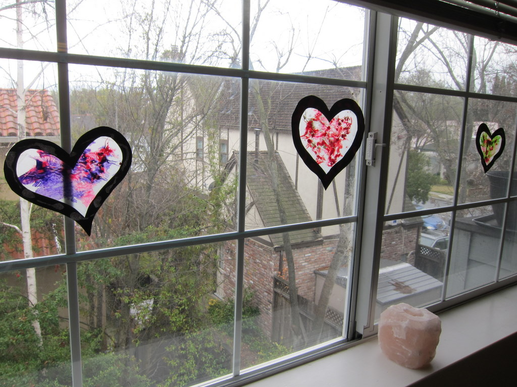 Crayon-shavings hearts