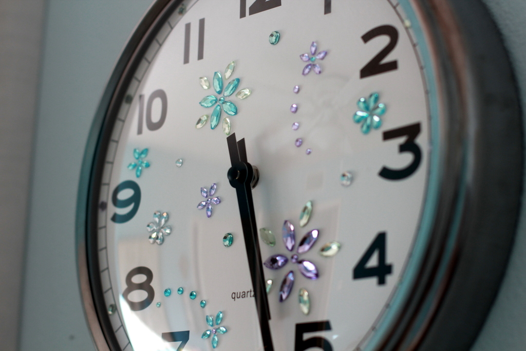 a clock with bling