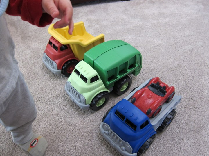 green toy trucks