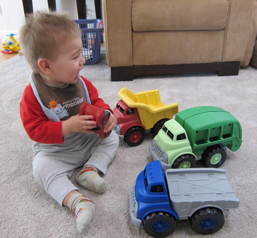 with his dump trucks