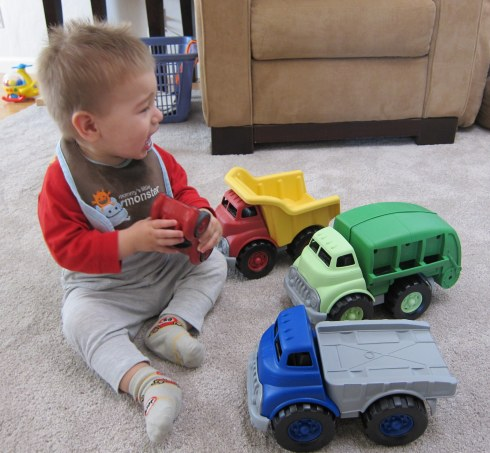 with his dump trucks