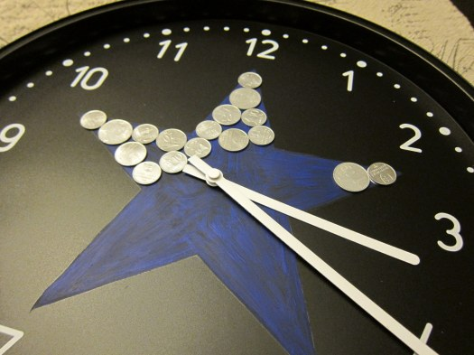 coins on clock