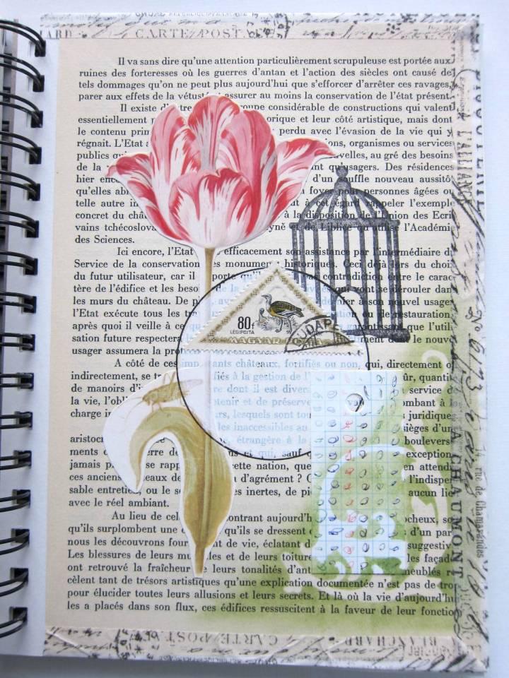 floral birdcage collage