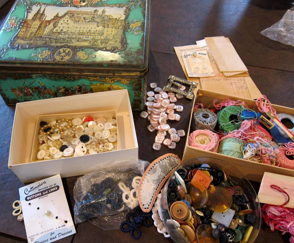 buttons, notions, thread