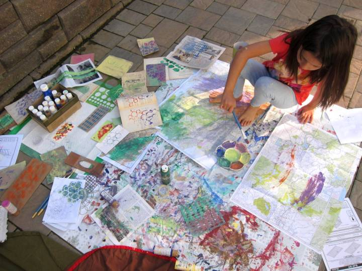painting on a tarp