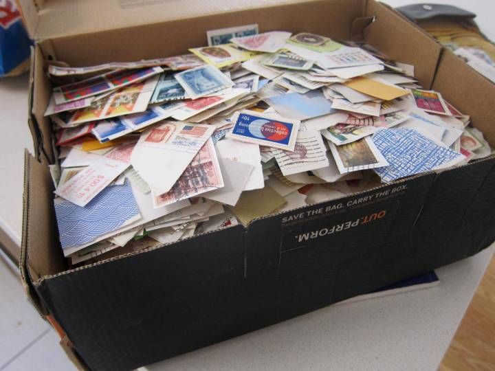 box of stamps on paper