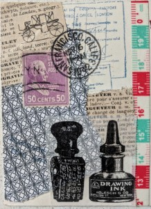 collage with ink bottles on washi tape, a dictionary page, a postage stamp, and a postmark